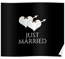 Just Married Tuxedo Heart Bow Tie Poster
