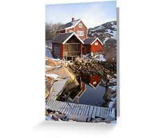 House, boatshed and harbour Greeting Card