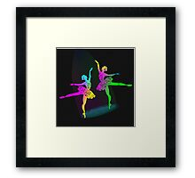 Pretty Rainbow Colored Ballet Dancer Silhouettes Framed Print