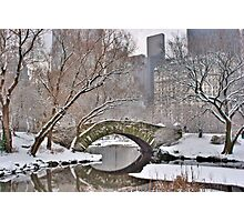 All the Trolls Are In Miami-Gapstow Bridge In Snow  New York City (HDR) Photographic Print