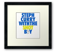 Steph Curry With The Shot Boy [With 3 Sign] Blue/Gold Framed Print