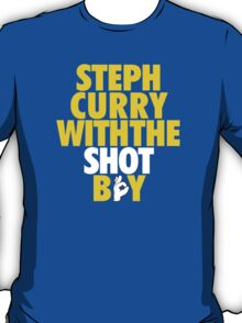 Steph Curry With The Shot Boy [With 3 Sign] Gold/White T-Shirt