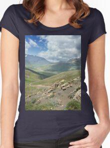 a large Uzbekistan landscape Women's Fitted Scoop T-Shirt
