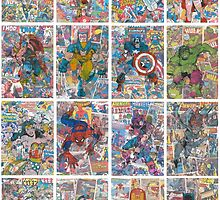 Vintage Comic Superheroes Galore (white borders) by Daveseedhouse