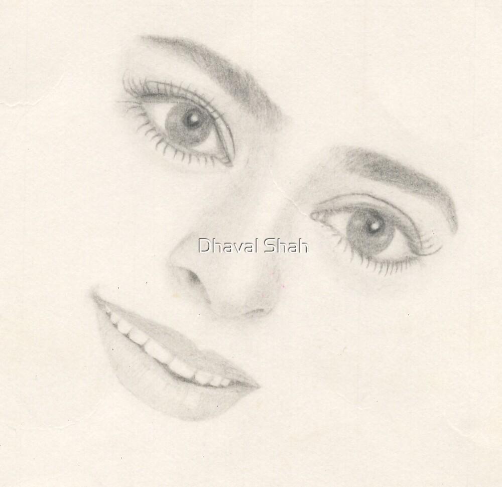 Juhi Chawla~Sketch by Dhaval Shah