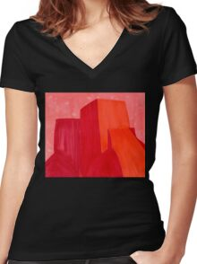 Saint Francis Church original painting Women's Fitted V-Neck T-Shirt