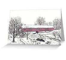 Red Covered bridge of Bridgeton Greeting Card