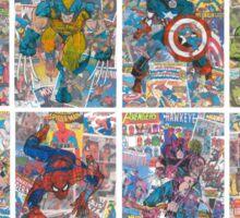 Vintage Comic Superheroes Galore (white borders) Sticker
