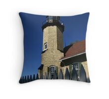 White River Lighthouse Tower and Fence Throw Pillow