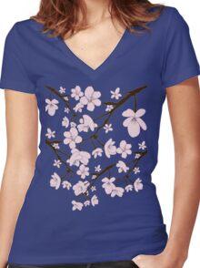 Sakura Blossoms Women's Fitted V-Neck T-Shirt