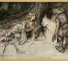 Siegfried & The Twilight of the Gods by Richard Wagner art Arthur Rackham 1911 0047 Mime Finds the Mother of Siegfried in the Forest by wetdryvac