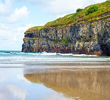 single kayaker near the cliffs of ballybunion by morrbyte