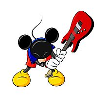 Mickey Mouse Smashing Guitar Photographic Print