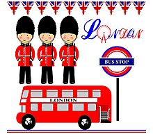 Cute London City Themed Red Bus Queens Guards Photographic Print