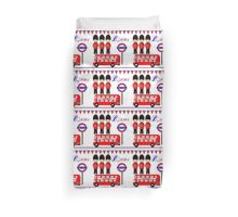 Cute London City Themed Red Bus Queens Guards Duvet Cover