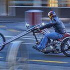 Triumph Chopper in motion by Tony Burton
