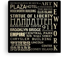 New York Famous Landmarks Canvas Print
