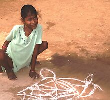 Able and disabled - Girl in Alanganeri village, India by indiafrank