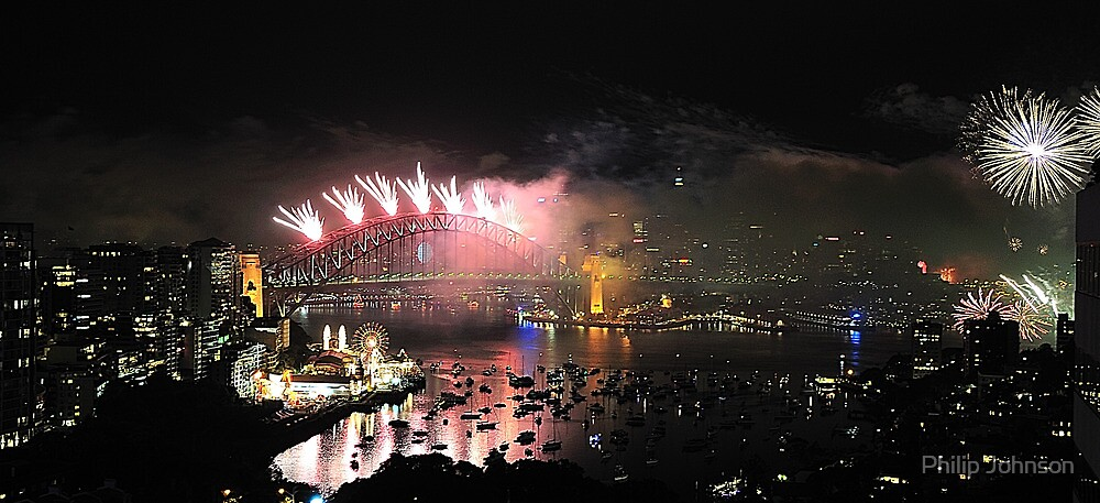 Let There Be Light (Wide View) # 8 - Sydney New Years Eve Fireworks 2009  by Philip Johnson
