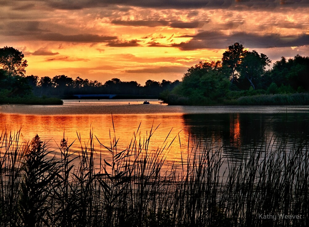 Sunset On Horseshoe Pond - Erie, PA by Kathy Weaver