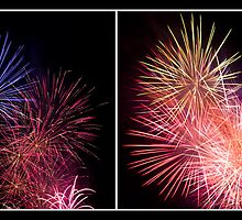 Penrith Panthers Fireworks - Diptych I by Adriana Glackin