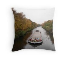 barge at the Teltow channel in Berlin Throw Pillow