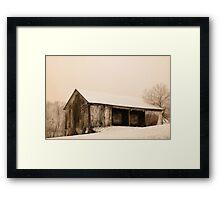Albert's Barn in Snowstorm Framed Print