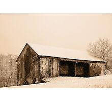 Albert's Barn in Snowstorm Photographic Print