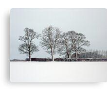 Across a snowy field in Bintree Norfolk Canvas Print