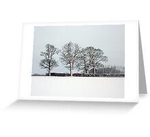 Across a snowy field in Bintree Norfolk Greeting Card