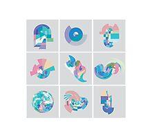 Pastel Pixel Grid swirls Photographic Print