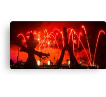 "Sorcerer Mickey and ""Villainy in the Sky"" Fireworks Canvas Print"