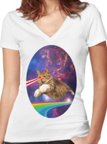 Laser cat in space  Women's Fitted V-Neck T-Shirt