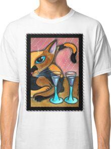 Romancing Cat and Wine Glasses Classic T-Shirt