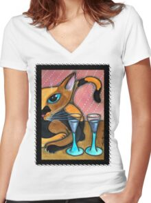 Romancing Cat and Wine Glasses Women's Fitted V-Neck T-Shirt