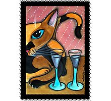 Romancing Cat and Wine Glasses Photographic Print