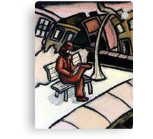 Bench under Lightpost  Canvas Print