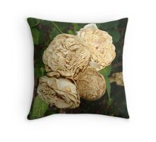 White Withered Roses Throw Pillow