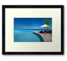 Postcard from Anse Lazio beach at Praslin island, Seychelles Framed Print