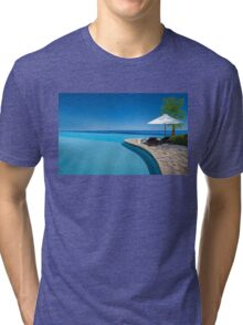 Postcard from Anse Lazio beach at Praslin island, Seychelles Tri-blend T-Shirt