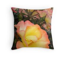 Rose, yellow and pink Throw Pillow