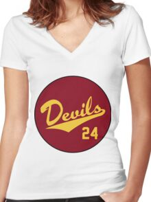 Retro Arizona State University Sun Devils Barry Bonds #24 Women's Fitted V-Neck T-Shirt