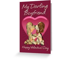 Boyfriend Valentine's Day Card With Two Kissing Puppies  Greeting Card