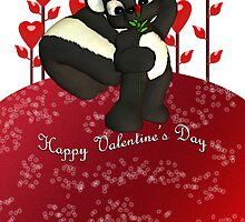 Cute Valentine's Day Card With Little Skunk by Moonlake