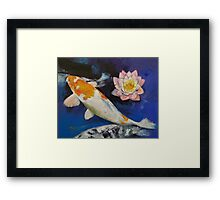 Gin Rin Koi and Water Lily Framed Print