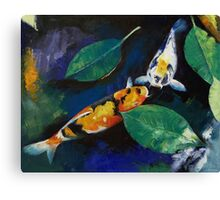 Koi and Banyan Leaves Canvas Print