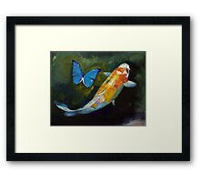 Kujaku Koi and Butterfly Framed Print