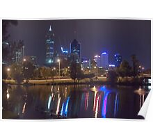 Perth City By Night from Mounts Bay Road Poster