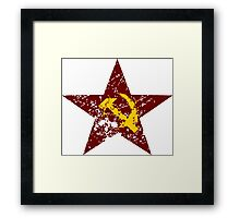 Red star hammer and sickle rusty revolution Framed Print