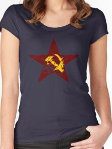 Red star hammer and sickle rusty revolution Women's Fitted Scoop T-Shirt